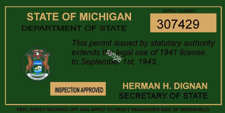 1941-42 Michigan tax inspection sticker - Click Image to Close