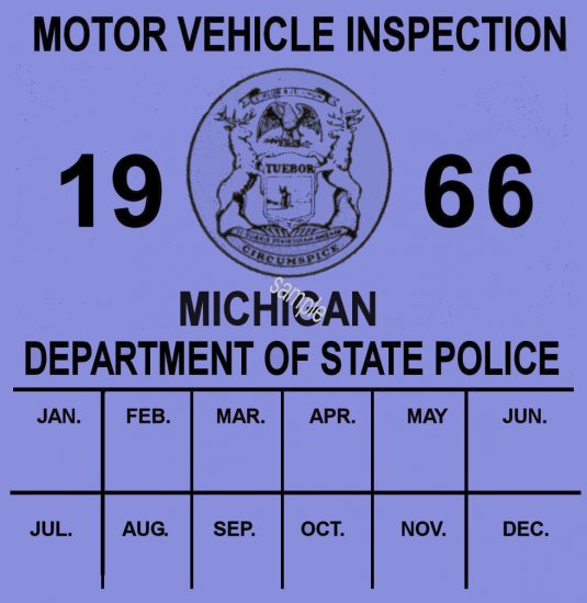 1966 Michigan inspection sticker - Click Image to Close