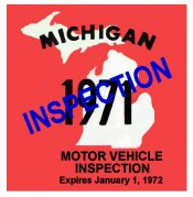 1971 Michigan INSPECTION sticker