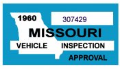 1960 Missouri INSPECTION Sticker