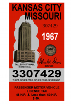 1967 MISSOURI, Kansas City Tax Inspection sticker