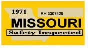 1971 Missouri INSPECTION STICKER