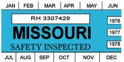1976, 1977, 1978 Missouri INSPECTION Sticker