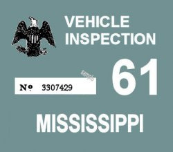 1961 Mississippi inspection Sticker