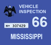 1966 Mississippi inspection sticker