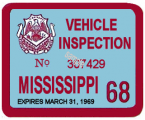 1968 Mississippi Inspection Sticker