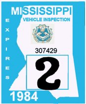 1984 Mississippi Inspection sticker