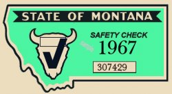 1967 Montana Safety Inspection Sticker