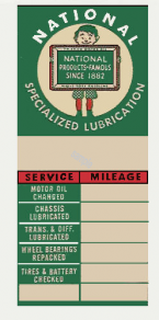 NATIONAL Lubrication Sticker