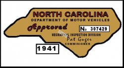 1940 NC Inspection Sticker