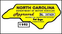 1952 NC Safety Check inspection sticker