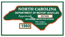 1960 NC Inspection Sticker (Estimate)