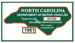 1961 NC Inspection Sticker (Estimate)