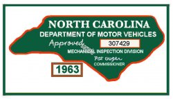 1963 North Carolina inspection sticker