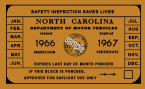 1966-67 North Carolina INSPECTION Sticker.