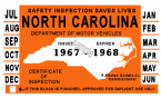 1967-68 North Carolina Inspection Sticker