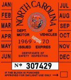1969-70 North Carolina Inspection Sticker