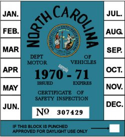 1970-71 North Carolina INSPECTION Sticker