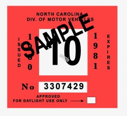 1980-81 North Carolina INSPECTION Sticker