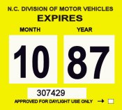 1987 North Carolina Inspection sticker