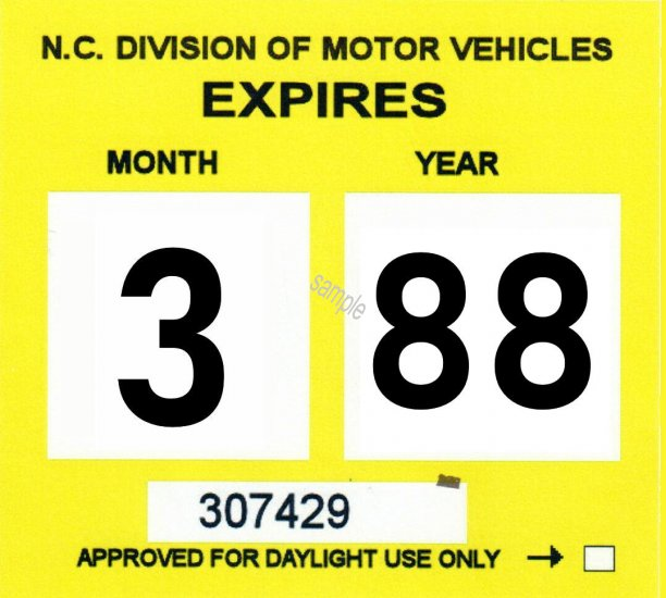 1988 North Carolina Inspection sticker - Click Image to Close
