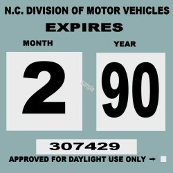1990 North Carolina Inspection sticker