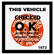 1973 North Dakota Inspection Sticker