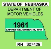 1961 Nebraska inspection sticker