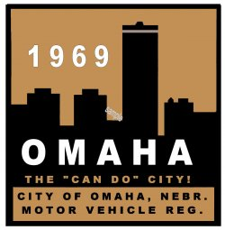 1969 Nebraska REGISTRATION Sticker OMAHA