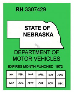 1971-72 Nebraska INSPECTION Sticker