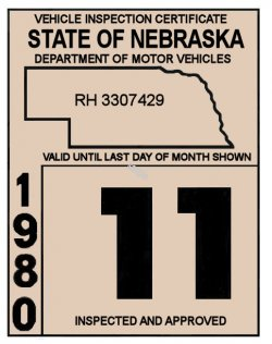 1980 Nebraska INSPECTION Sticker