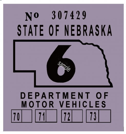 1969-1973 Nebraska Inspection Sticker - Click Image to Close