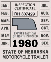 1980 Nebraska Motorcycle Trailer Inspection sticker