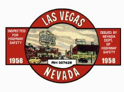 1958 Nevada Inspection Sticker