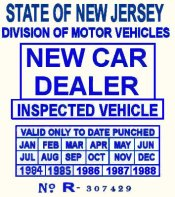 1984 - 1988 NJ NEW CAR DEALER sticker