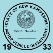 1933 New Hampshire inspection sticker