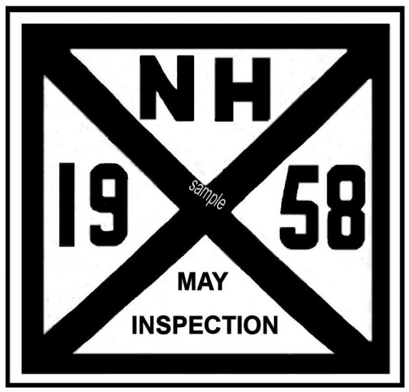 1958 New Hampshire Inspection Sticker - Click Image to Close