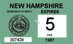 1986-87 New Hampshire inspection sticker SMALL
