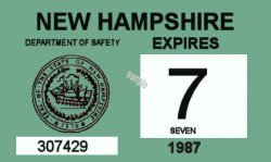 1986-87 New Hampshire inspection sticker MONSTER