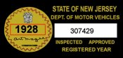 1928 New Jersey Safety Check Inspection Sticker