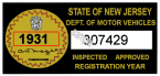 1931 New Jersey Safety Check Inspection Sticker