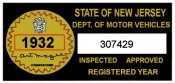 1932 New Jersey Safety Check Inspection Sticker