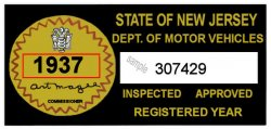 1937 New Jersey Safety Check Inspection Sticker