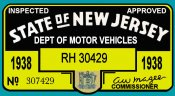 1938 New Jersey's FIRST Inspection Station Sticker