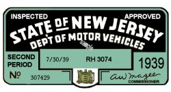 1939 2nd Period New Jersey Inspection Sticker