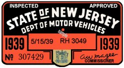 1939 1st Period New Jersey Inspection Sticker