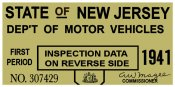 1941 1st Period New Jersey Inspection Sticker