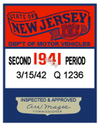 1941 2nd Period New Jersey Inspection Sticker