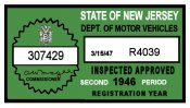 1946 New Jersey 2nd Period Inspection sticker