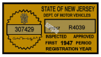 1947 New Jersey 1st Period Inspection Sticker